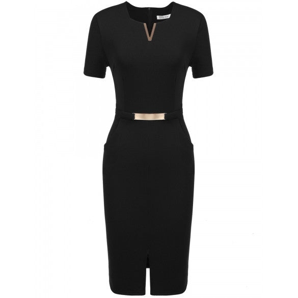 Women Business Metal Decorations Front Split Elastic Slim Dress With Pockets