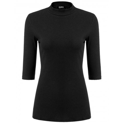 Women Stand Neck 3/4 Sleeve Solid Slim Fit Pullover Sweater