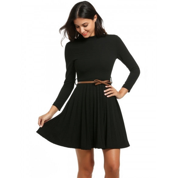 Women Stand Collar Long Sleeve Fit And Flare Mini Pleated Dress With Belt