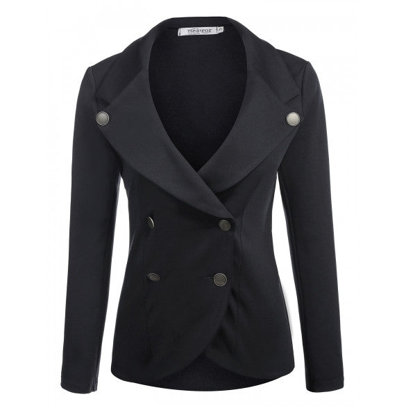 New Women Casual Turn Down Collar Long Sleeve Jacket Solid Coat Blazer