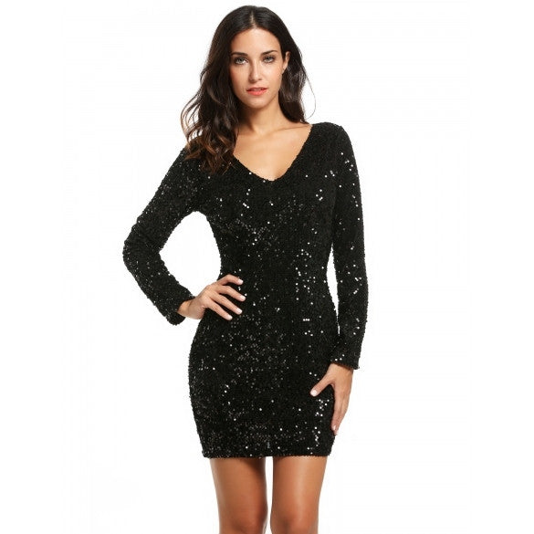 Women's V-Neck Long Sleeve Sequined Cocktail Bodycon Mini Dress