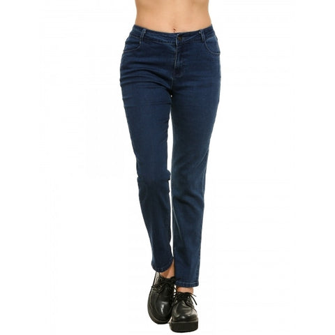 New Women Casual Straight Leg Jeans Denim Pants With Pockets