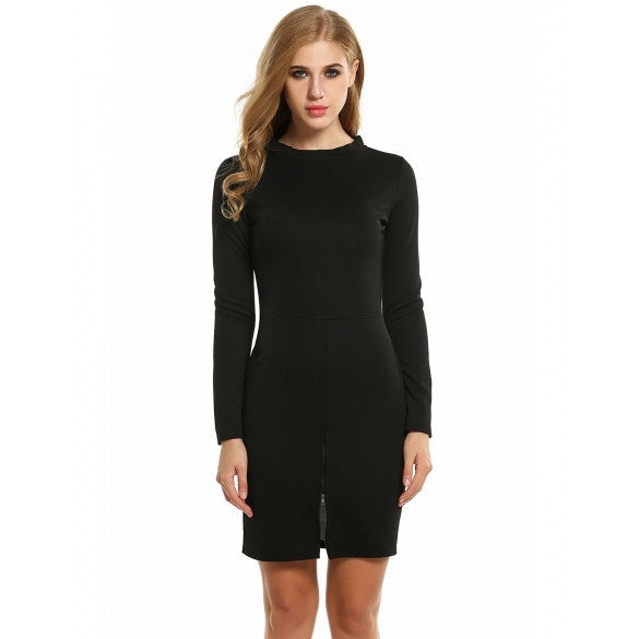 Women's Long Sleeve Half Zip Solid Cocktail Bodycon Mini Pencil Dress