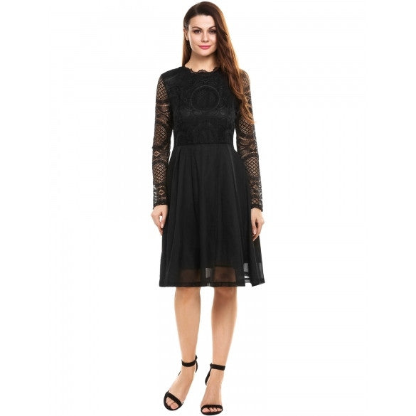 Women Casual Long Sleeve Lace Patchwork O Neck Sexy A-Line Knee Length Dress