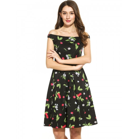 Women Casual Sleeveless Print Slash Neck Pullover Swing Dress
