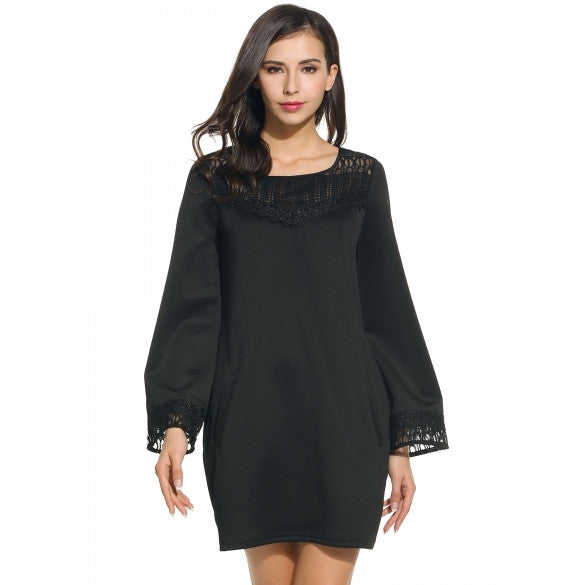 Women Casual O-Neck Long Flare Sleeve Lace Patchwork Pullover Dress