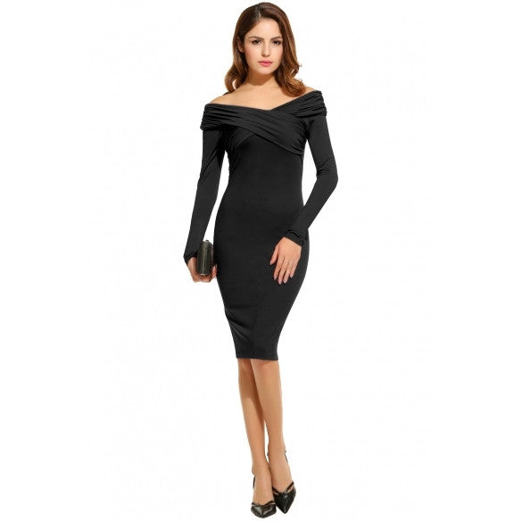 New Fashion Women Elegant Retro Style Long Sleeve Front Pleated Wiggle Dress Pencil Dress