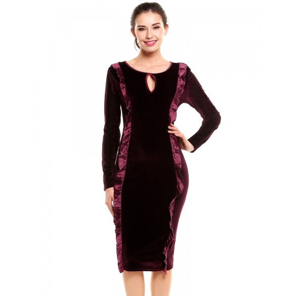 Women Vintage Style Sexy Keyhole Long Sleeve Ruffled Party Prom Bodycon Pencil Dress