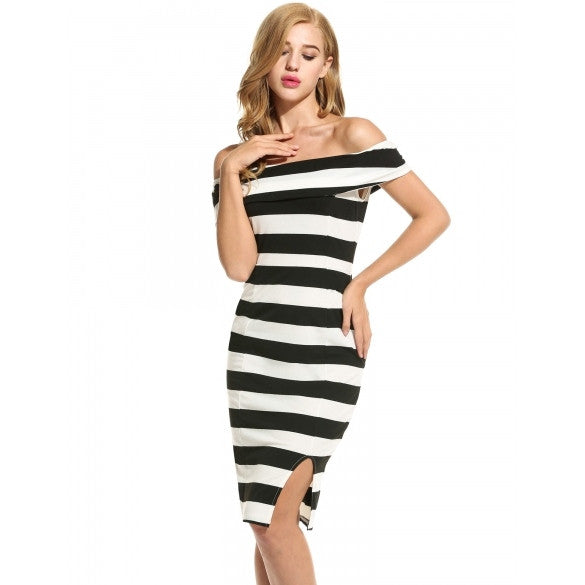 Women Casual Sleeveless Striped Off Shoulder Slim Sexy Dress