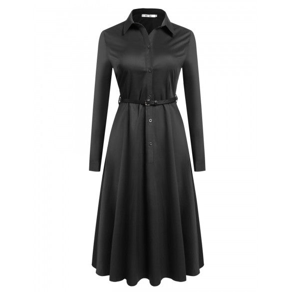 Women Turn Down Collar Long Sleeve Button Down Swing Shirt Dress With Belt