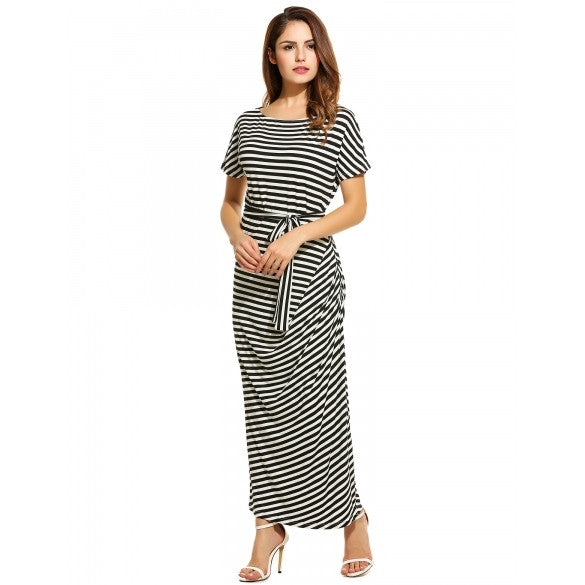 Women Loose Batwing Short Sleeve Striped Draped Long Maxi Dress With Belt