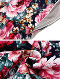 Women Fashion Vintage Style Deep V-Neck Long Sleeve High Waist Floral A-Line Swing Dress