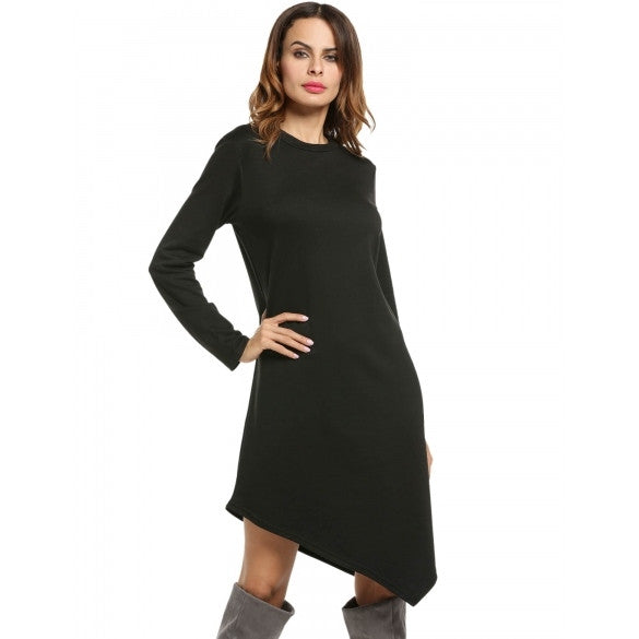 Women Casual O-Neck Long Sleeve Asymmetrical Hem A-Line Dress