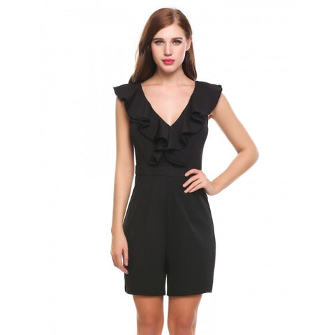 Casual Double V-Neck Sleeveless Solid Elastic Ruffle Jumpsuit Bodysuit