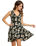 Women Casual Sleeveless Floral V Neck Flared Sexy Dress