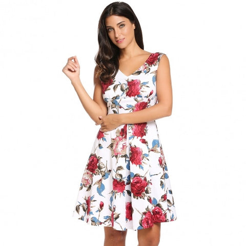 Women Casual Sleeveless Print V Neck Knee Length Vintage Stretchy Swing Dress