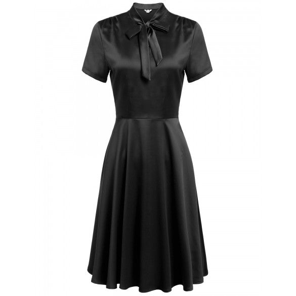 New Women Vintage Styles V-Neck Short Sleeve Solid Bow Bandage A-Line Pleated Hem Dress