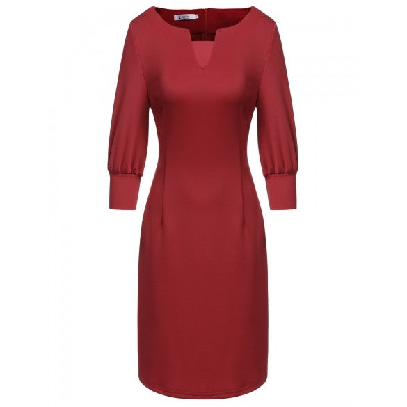 Casual Asymmetrical Collar Three Quarter Lantern Sleeve Solid Work Pencil Dress