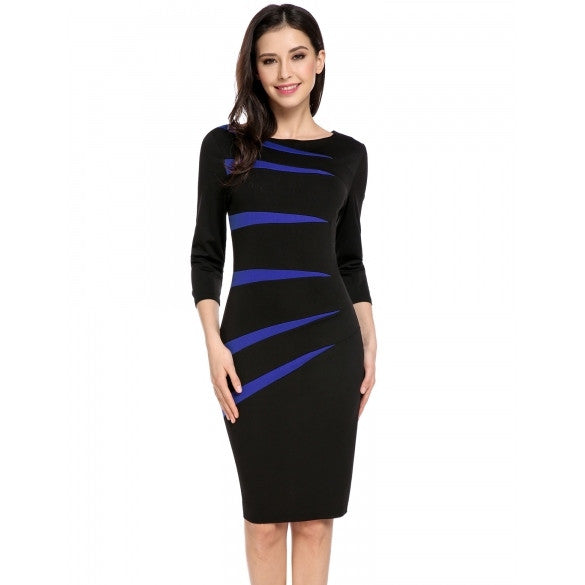 New Women Casual Boat Neck Three Quarter Sleeve Geometric Elastic Business Bodycon Pencil Dress