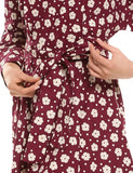 Women Vintage Style Loose Batwing Long Sleeve Floral A-Line Dress