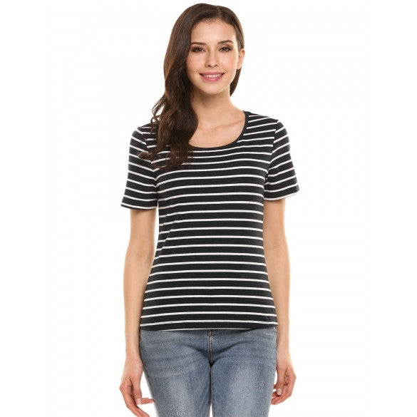 Women Slim Round Neck Short Sleeve Stripe T-Shirt Basic Tee