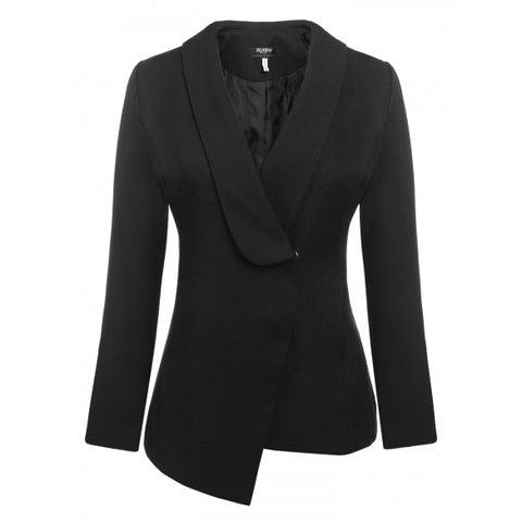 Casual Long Sleeve Shawl Collar Solid Asymmetrical Hem Suits Blazer