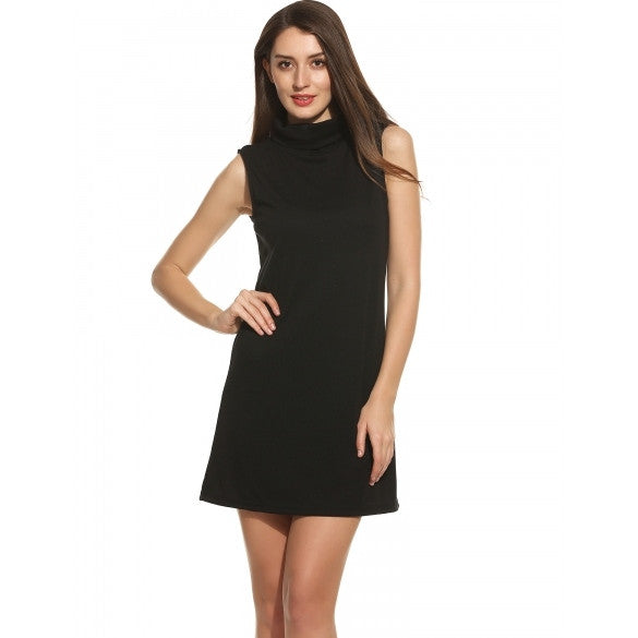 Women Casual Turtleneck Sleeveless Solid Loose Knit Tank Pullover Elastic Straight Dress