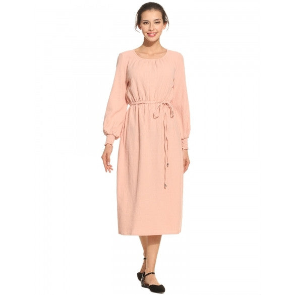 Women Fashion Round Neck Long Lantern Sleeve Belt Dress