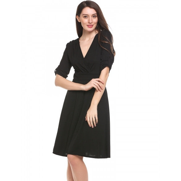 New Women Casual V-Neck Three Quarter Sleeve Solid Tunic A-Line Pleated Hem Elastic Dress
