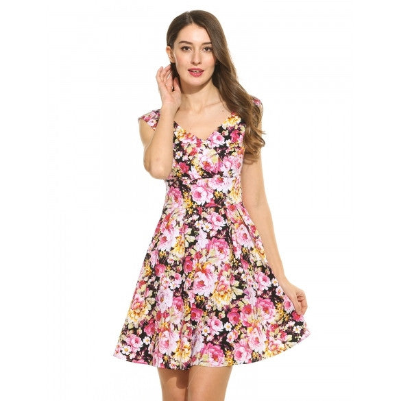 Women V-Neck Sleeveless Floral Printed Vintage Wiggle Dress