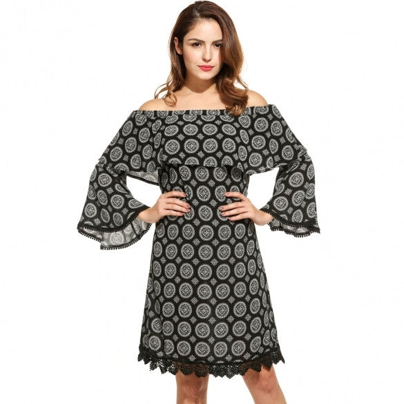 Women Fashion Off Shoulder 3/4 Flare Sleeve Ruffle Crochet Lace-Trimmed Print Short Dress