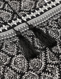 New Women O-Neck Long Sleeve Lace Up Tassel Vintage Style Bohemian Dress