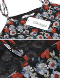 Women's Spaghetti Strap Floral Print Backless Chiffon Casual Dress Plus Size