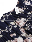 New Women Casual Slash Neck Off Shoulder Short Sleeve Prints A-Line Pleated Hem Dress