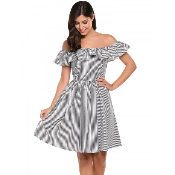 New Women Casual Slash Neck Backless Off Shoulder Ruffle Striped Pleated Dress