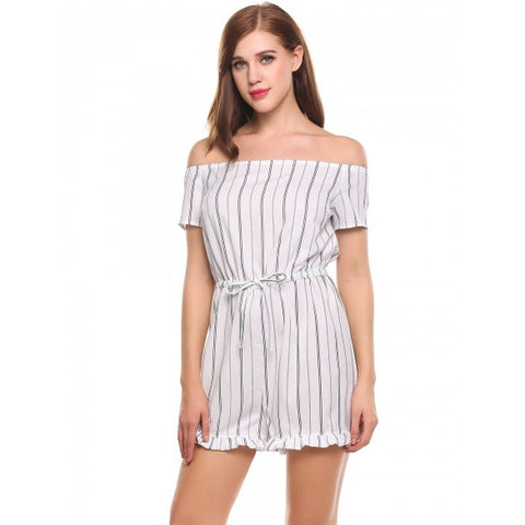 Casual Slash Neck Off Shoulder Short Sleeve Striped Lace-up Ruffle Brim Jumpsuit Bodysuit