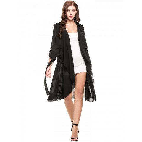 Casual Turn Down Collar Open Stitch Long Sleeve Solid Trench Coat Windbreaker Outwear Cardigan With Belt