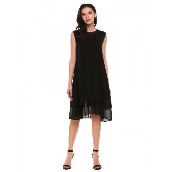 New Women Casual O-Neck Sleeveless Solid Double Layers Chiffon Tank Pleated Hem Loose Dress