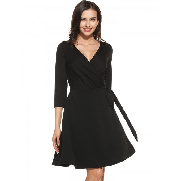 Women Casual 3/4 Sleeve Solid V Neck Adjustable Bow Belt A-Line Dress