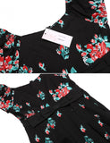 Women Vintage Styles V-Neck Puff Sleeve Bow Tunic Prints A-Line Pleated Patchwork Hem Dress