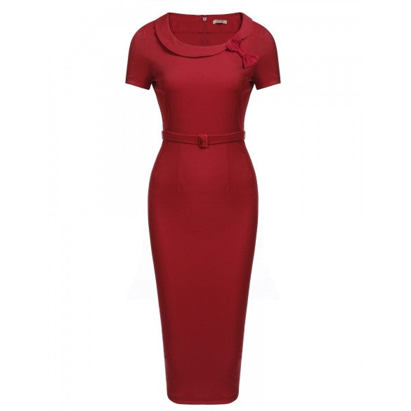 Women's Bow Peter Pan Collar Short Sleeves Bodycon Dress With Belt