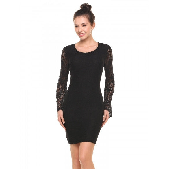 New Women Casual O-Neck Long Flare Sleeve Floral Lace Hollow Out Slim Elastic Dress