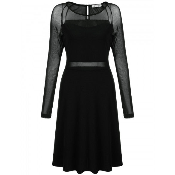 Casual O-Neck Long Sleeve Mesh Patchwork Semi-Sheer A-Line Pleated Hem Elastic Pullover Dress
