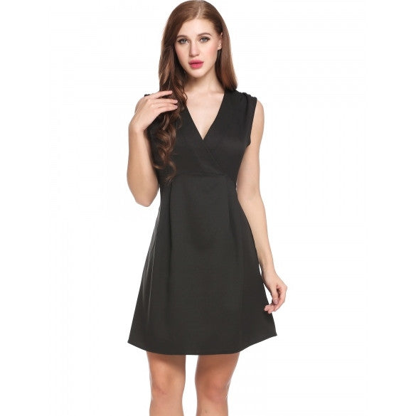 New Women Casual V-Neck Sleeveless Solid Pleated Slim A-Line Hem Dress