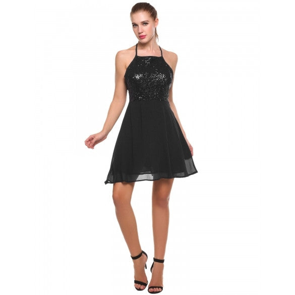 Women Spaghetti Strap Sequined Cross Back Chiffon Skater Dress