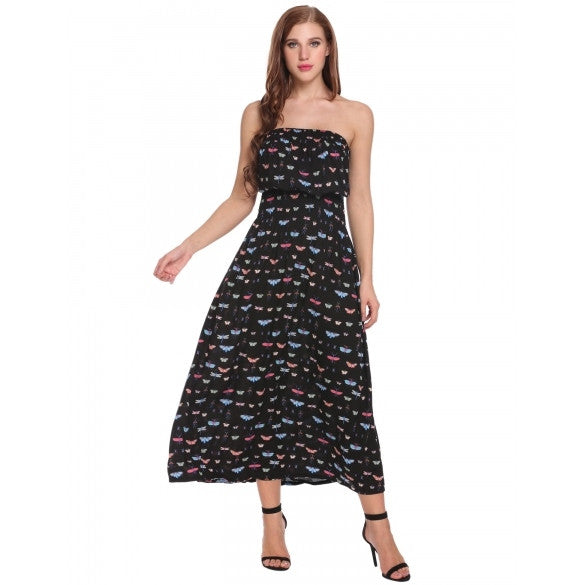 Women's Strapless Print Summer Beach Long Maxi Dress