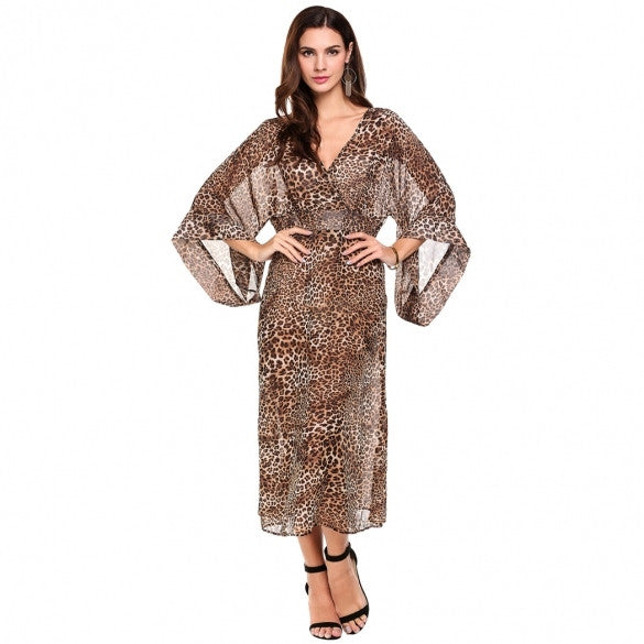 Women Sexy Deep V-Neck 3/4 Sleeve Wrap Front Leopard Chiffon Long Dress