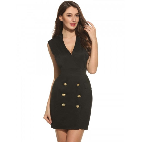 Women V-Neck Sleeveless Button Business Cocktail Party Pencil Dress