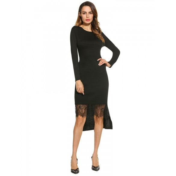Women's Long Sleeve Solid High Low Lace Hem Bodycon Dress