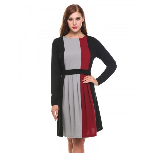 Women Round Neck Long Sleeve Contrast Color Knee Length Dress